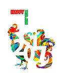 Rooster as a symbol of the new year 2017. Rooster as a symbol of 2017. Christmas and New Year card with a silhouette of the cock in psychedelic and multicolored Royalty Free Stock Images