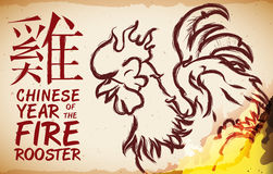 Rooster in Banner with Fire for Chinese New Year Celebration, Vector Illustration stock photography