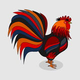 A rooster with a beautiful plumage on a grey background Stock Photography