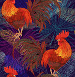 Rooster. Beautiful, stylish, trendy seamless pattern with symbol 2017 by the Chinese calendar - red fire rooster. Print with decorative roosters and rowan Royalty Free Stock Photography