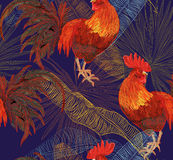 Rooster. Beautiful, stylish, trendy seamless pattern with symbol 2017 by the Chinese calendar - red fire rooster. Print with decorative roosters and rowan Royalty Free Stock Image