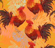Rooster. Beautiful, stylish, trendy seamless pattern with symbol 2017 by the Chinese calendar - red fire rooster. Print with decorative roosters and rowan Stock Images