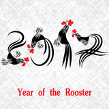 Rooster bird concept of Chinese New Year of the Rooster. Grunge vector file organized in layers for easy editing Stock Photos