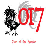 Rooster bird concept of Chinese New Year of the Rooster.. Grunge vector file organized in layers for easy editing Royalty Free Stock Image