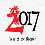 Rooster bird concept of Chinese New Year of the Rooster. Vector hand drawn sketch illustration.  Royalty Free Stock Photography