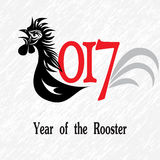 Rooster bird concept of Chinese New Year of the Rooster. Vector hand drawn sketch illustration. Stock Photography