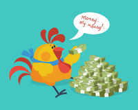 Rooster Bird Counts Money. Cock Rich Businessman. Rooster bird counts money. Money, my money. Cock successful businessman. Chinese calendar zodiac cock horoscope Royalty Free Stock Photography