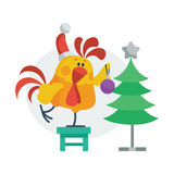 Rooster Bird Decorates Christmas Tree. Cock in Hat Stock Image