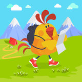 Rooster Bird on Excursion in Mountains. Vector Royalty Free Stock Images