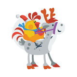 Rooster Bird Ride on Horse. in Santa s Hat Royalty Free Stock Images