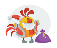 Rooster Bird in Santa s Cloth with Bag Presents. Rooster bird in Santa s cloth with bag full of presents. Cock in Santa s hat isolated. Chinese calendar zodiac Vector Illustration