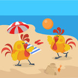 Rooster Birds on the Beach. Cock Play Volleyball. At the seaside. Chinese calendar zodiac cock horoscope. Chicken character collection in flat. New year xmas Stock Photo