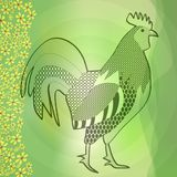 Rooster, black drawing on blurry green spring background with small yellow spring flowers Royalty Free Stock Images