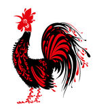 Rooster black feathers red crown. Royalty Free Stock Photography