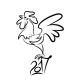Rooster black line art sketch of cock Stock Images