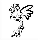 Rooster black line art sketch of cock Royalty Free Stock Photos