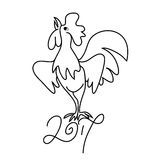 Rooster black line art sketch of cock Royalty Free Stock Photo