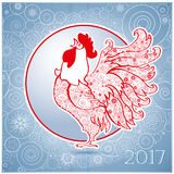 Rooster on blue  background 1. Rooster on  blue  background. Chinese New Year of the Rooster. Red cock - symbol of 2017. Merry Christmas and Happy new year Royalty Free Stock Photography