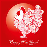 Rooster on bright red background 1. Rooster on bright red background. Chinese New Year of the Rooster. Red cock - symbol of 2017. Merry Christmas and Happy new Stock Photography