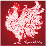 Rooster on  bright red background 3. Rooster on bright red background. Chinese New Year of the Rooster. Red cock - symbol of 2017. Merry Christmas and Happy new Royalty Free Stock Photo