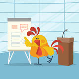 Rooster Builds Business Plans Flat Vector Concept. Rooster builds business plans. Cock cartoon character points on flip chart with graphs on stage flat vector Royalty Free Illustration