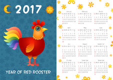 Rooster calendar Template. Calendar Template 2017 with Patterned Rooster. Vector Illustration of Red Rooster Royalty Free Stock Image