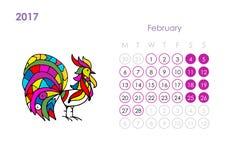 Rooster calendar 2017 for your design. February month. Vector illustration royalty free illustration