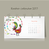 Rooster calendar 2017 for your design. Vector illustration Royalty Free Stock Photo