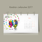 Rooster calendar 2017 for your design. Vector illustration Royalty Free Stock Image
