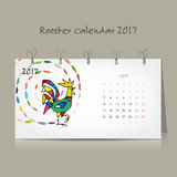 Rooster calendar 2017 for your design. Vector illustration Stock Images