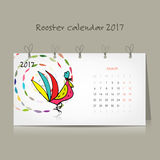 Rooster calendar 2017 for your design. Vector illustration Stock Photo