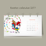 Rooster calendar 2017 for your design. Vector illustration Royalty Free Stock Photos