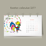 Rooster calendar 2017 for your design. Vector illustration Stock Photography