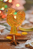 Rooster  candy on holiday bokeh  background Royalty Free Stock Photos