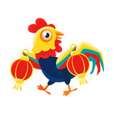 Rooster Cartoon Character Carrying Two Red Lanterns,Cock Representing Chinese Zodiac Symbol Of New Year 2017. Asian Astrologic Yearly Mascot Animal Vector Flat Royalty Free Stock Photo