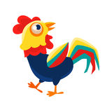 Rooster Cartoon Character Walking Around ,Cock Representing Chinese Zodiac Symbol Of New Year 2017. Asian Astrologic Yearly Mascot Animal Vector Flat stock illustration