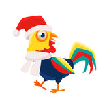 Rooster Cartoon Character Wearing Hat And Scarf ,Cock Representing Chinese Zodiac Symbol Of New Year 2017. Asian Astrologic Yearly Mascot Animal Vector Flat Royalty Free Stock Photo