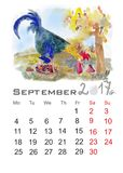 Rooster. Cartoon cock mushroom.Watercolor painting for your calendar Stock Photography