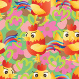 Rooster cartoon color seamless pattern Royalty Free Stock Photo