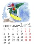 Rooster. Cartoon rooster with the snowboard.Watercolor painting for your calendar.cartoon rooster with the snowman.Watercolor painting for your calendar Royalty Free Stock Photography