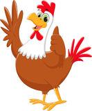 Rooster cartoon waving and give thumb up Royalty Free Stock Photos