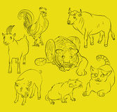 Rooster, cat, pig, rat, goat, tiger and ox Royalty Free Stock Photos