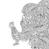 Rooster. Chicken, cock. Hand drawn artwork. Black and white. Coloring book page for adults vector illustration