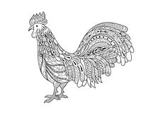 Rooster. Chicken, cock. Hand drawn Zentangle stylized  illustration. Decorative abstract ornate  drawing for adult anti stress coloring page stock illustration