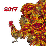 Rooster. Chicken, with zentangle ornament. Vector illustration. Can be used as a greeting card for the year of vector illustration