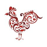 Rooster - chicken with Decorative floral ornament Stock Photo