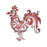 Rooster - chicken with Decorative floral ornament Royalty Free Stock Image