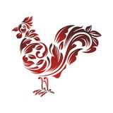 Rooster - chicken with Decorative floral ornament Royalty Free Stock Photo