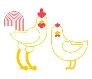 Rooster and chicken. Farm bird isolated on white background Royalty Free Stock Photo