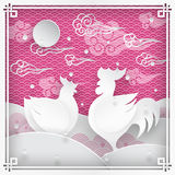 Rooster and chicken. Illustration of rooster animal symbol of chinese new year 2017 and chicken silhouettes with oriental vintage frame on pattern pink vector illustration